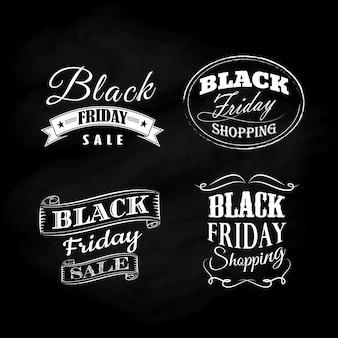 Zestaw czarny piątek tablica kaligraficzne ozdoby vintage