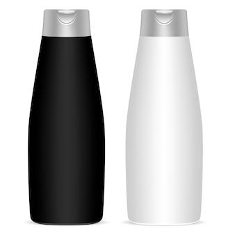 Zestaw czarnych białych butelek kosmetycznych. wektor makieta