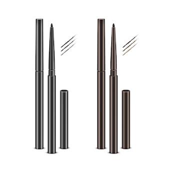 Zestaw czarnych brązowych kredek kosmetycznych eyeliner bez czapek i przykładowych pociągnięć na białym tle