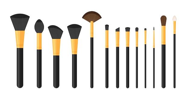 Zestaw czarnych czystych profesjonalnych pędzli do makijażu