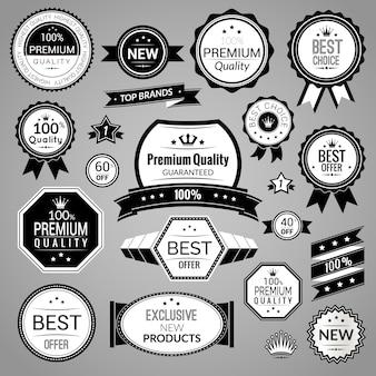Zestaw czarnych etykiet sprzedażowych