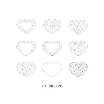Zestaw czarnych geometrycznych wielokątów serca