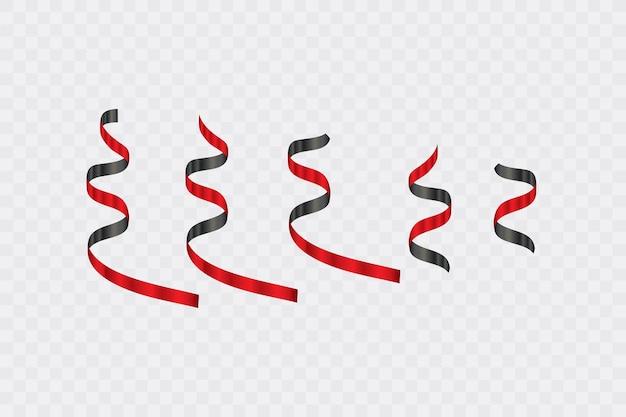 Zestaw czarnych i czerwonych zakrzywionych papierowych konfetti wężowych wstążek na przezroczystym tle. faborek. wyprzedaż w czarny piątek. ilustracja.