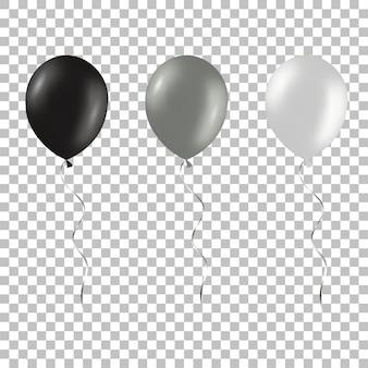 Zestaw czarnych i srebrnych balonów helowych