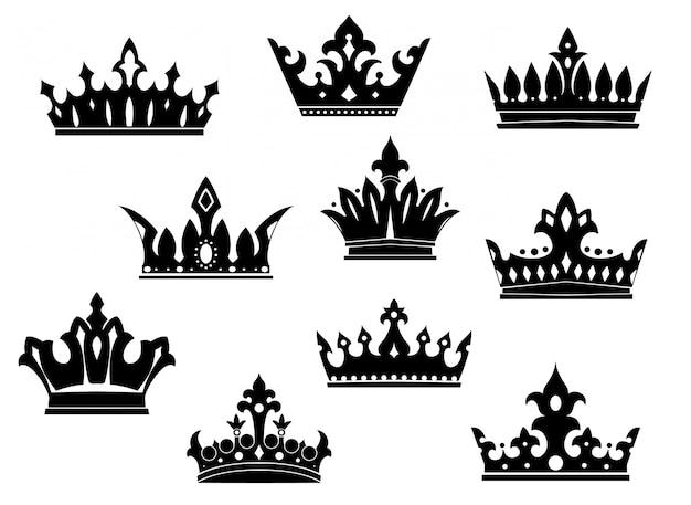 Zestaw czarnych koron heraldycznych