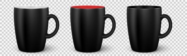 Zestaw czarnych kubków wektorowych 3d realistyczne puste kubki z uchwytem na herbatę lub kawę