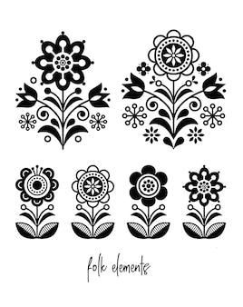 Zestaw czarnych kwiatów sztuki ludowej
