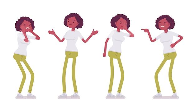 Zestaw czarnych lub afroamerykanów młoda kobieta, negatywne emocje