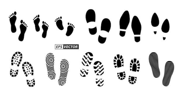 Zestaw czarnych ludzkich śladów lub ludzkiej podeszwy buta lub zabawnych śladów łapy wektor eps