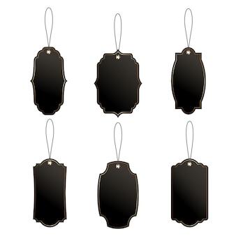 Zestaw czarnych metek cenowych lub bagażowych o klasycznych kształtach z liną.