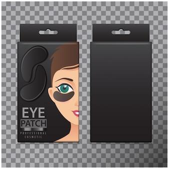 Zestaw czarnych nawilżających plastrów żelowych pod oczy. ilustracja pudełka z realistycznymi plastrami żelu do oczu