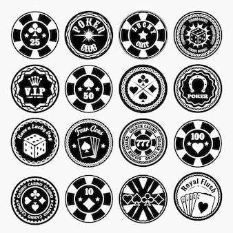 Zestaw czarnych odznak klubu pokerowego i kasyna