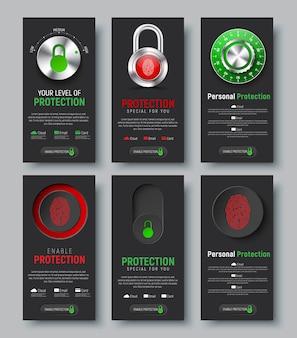 Zestaw czarnych pionowych banerów internetowych do ochrony informacji. szablony pionowe z kłódką, przyciskiem i przełącznikiem z odciskiem palca, mechaniczną blokadą szyfrową i kontrolą poziomu chmury,