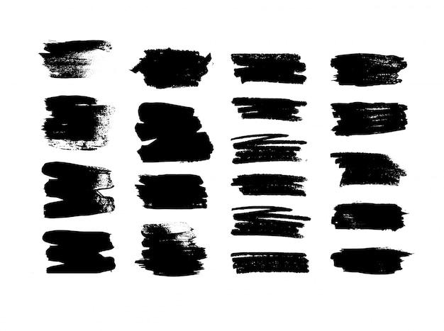 Zestaw czarnych pociągnięć pędzlem. kolekcja czarne linie na białym tle.