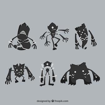 Zestaw czarnych potworów