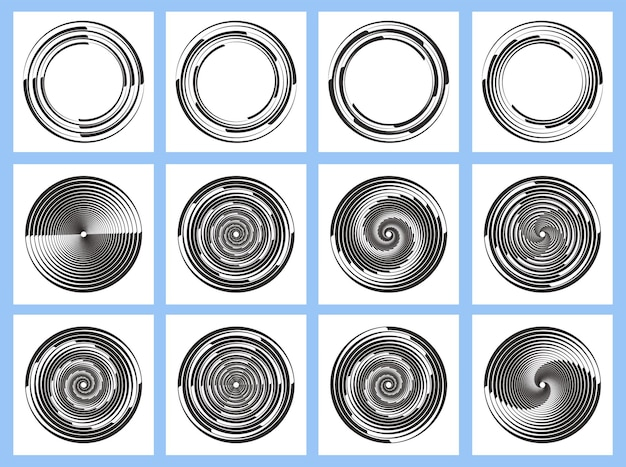 Zestaw czarnych promieniowych linii prędkości z białych przerywanych krzywych wirujących cienkich grubych linii półtonów