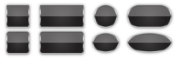 Zestaw czarnych przycisków z metalową ramką na białym tle