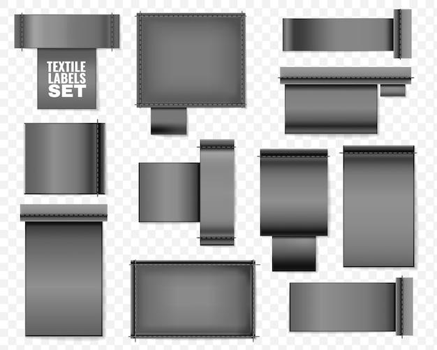Zestaw czarnych pustych etykiet tekstylnych. zestaw realistycznych etykiet tekstylnych na pustych szablonach z przezroczystym tłem do umieszczania kolekcji logo tekstu instrukcji