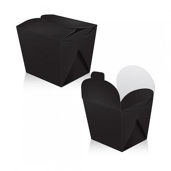 Zestaw czarnych pustych pudełek wok. opakowanie. pudełko kartonowe na azjatycką lub chińską papierową torbę na wynos