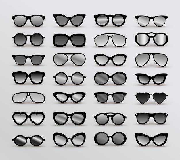 Zestaw czarnych różnych okularów.