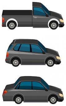 Zestaw czarnych samochodów na białym tle