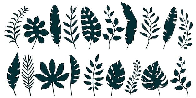 Zestaw czarnych sylwetek tropikalnych liści palm na białym tle
