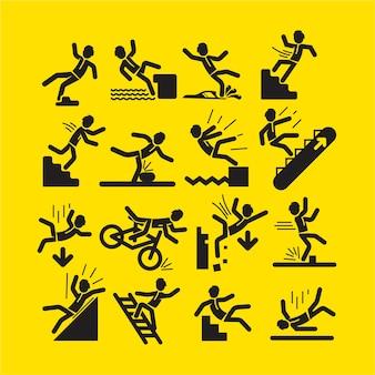 Zestaw czarnych znaków ostrzegawczych aktywności