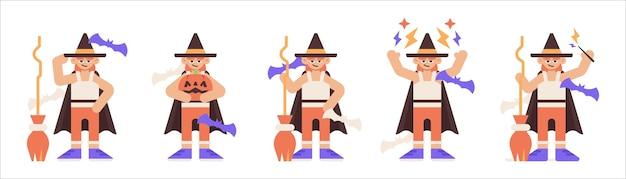 Zestaw czarodzieja halloween trzymającego miotłę w różnych pozach ilustracji