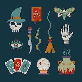 Zestaw czarownic i mistycznej magii. symbole czarów.