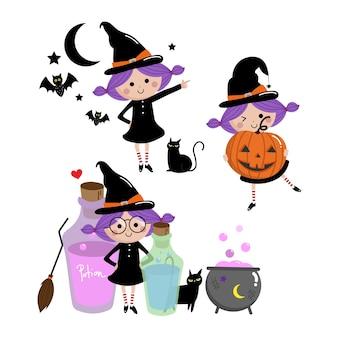 Zestaw czarownica halloween