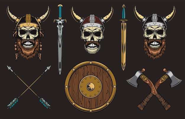 Zestaw czaszek wikingów
