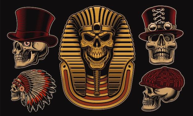 Zestaw czaszek z różnymi postaciami, takimi jak egipski faraon