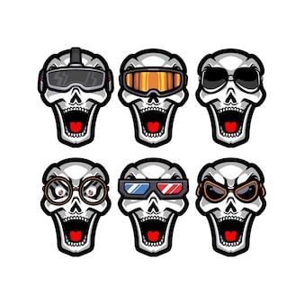 Zestaw czaszki w różnych okularach