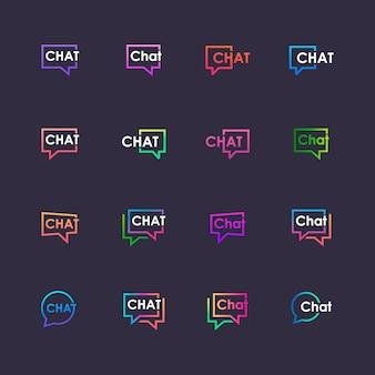 Zestaw czatu napis z bańki. mówić, mówić, szablon logo. szablon logotypu czatu.