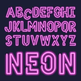 Zestaw czcionek abc neonowych liter