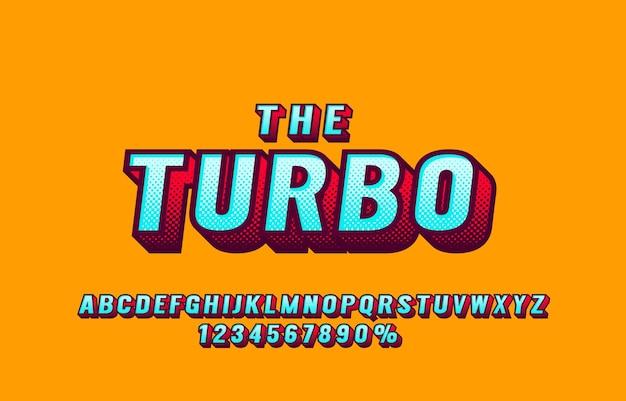 Zestaw czcionek i liczb retro turbo