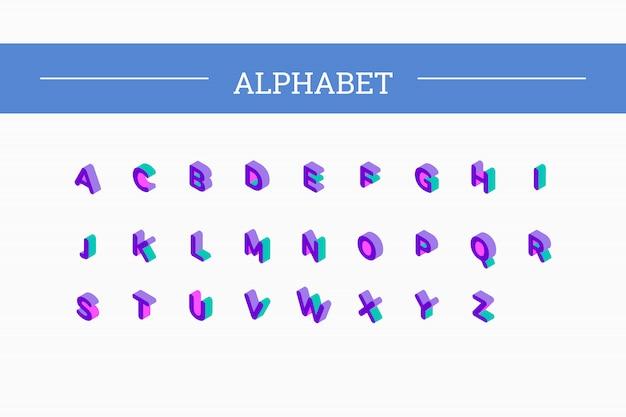 Zestaw czcionek izometryczny 3d litery wektorowe