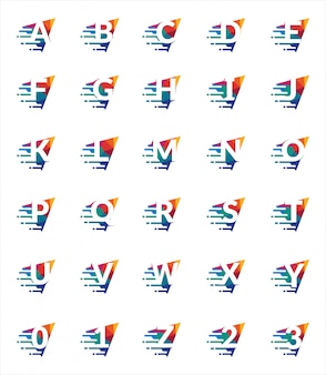 Zestaw czcionek kolorowe litery i cyfry. trójkąt wielokątne logo szablon kolorowe alfabet