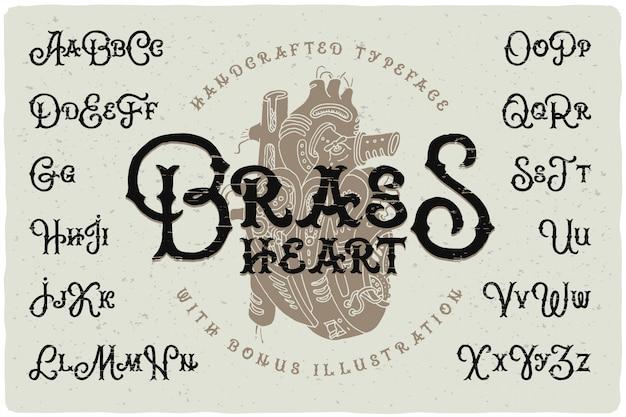 Zestaw czcionek w stylu steampunk z rysunkiem serca
