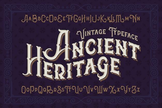 Zestaw czcionek w stylu vintage z klasycznym ornamentem