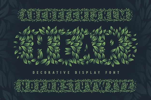 Zestaw czcionek wykonany z zielonych liści