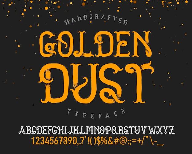 Zestaw czcionek złoty pył