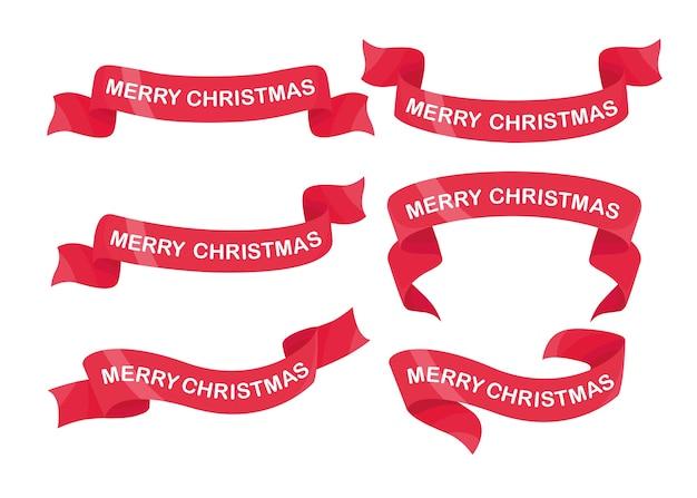 Zestaw czerwoną wstążką z tekstem wesołych świąt