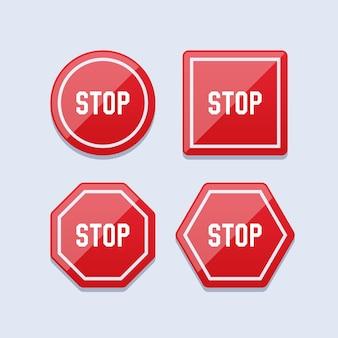 Zestaw czerwonego znaku stop