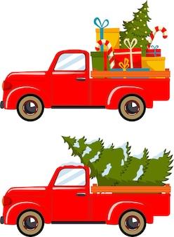 Zestaw czerwonej ciężarówki z choinką i bożonarodzeniowymi pudełkami. ilustracja wektorowa.