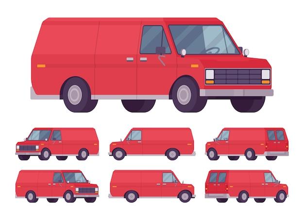 Zestaw czerwonej furgonetki