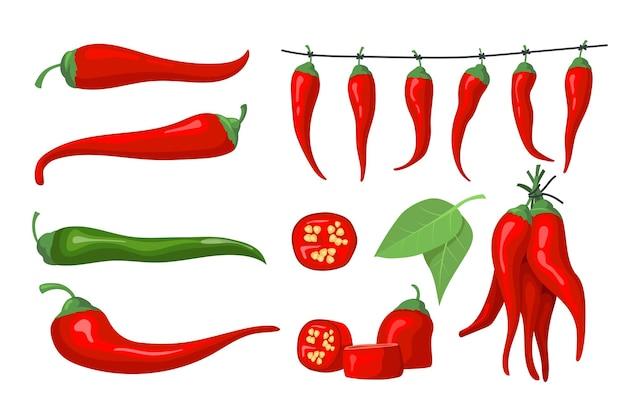 Zestaw czerwonej papryki chili