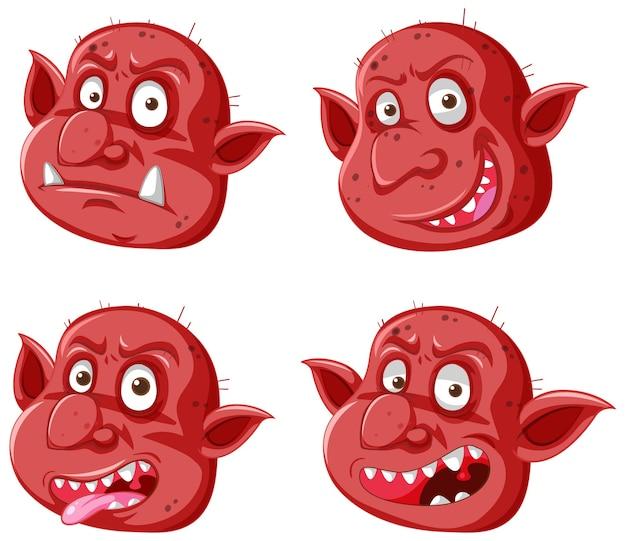 Zestaw czerwonej twarzy goblina lub trolla w różnych wyrażeniach w stylu kreskówka na białym tle