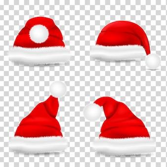 Zestaw czerwony d realistyczny kapelusz santa