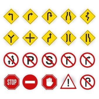 Zestaw czerwony i żółty znak drogowy na białym tle